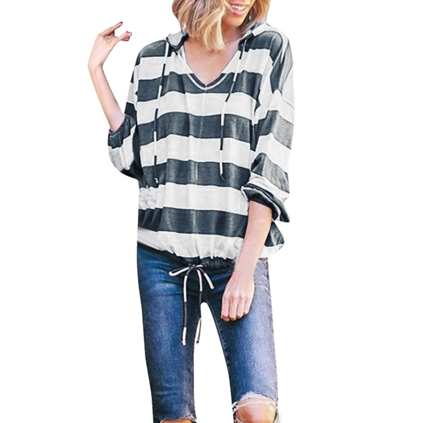 COOlCCI Womens Hooded Blouse Casual Stripe Long Sleeve Deep V Neck T Shirt Loose Fit Drawstring Tunic Hoodie