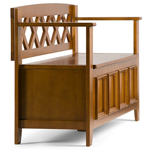 Product Image 5: SIMPLIHOME Amherst SOLID WOOD 48 inch Wide Entryway Storage Bench with Safety Hinge, Multifunctional Transitional inLight Avalon Brown