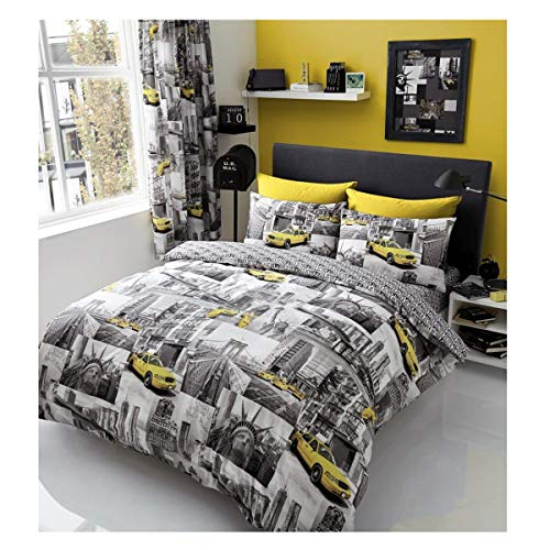 Gaveno Cavailia Luxury NEWYORK PATCHI Bed Set With Duvet Cover and Pillow Case, Polyester-Cotton, Multi, Double