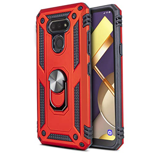 CasemartUSA Phone Case for [LG Premier Pro Plus (L455DL)], [Ring Series][Red] Full Rotating Metal Ring Cover with Built-in Kickstand (Tracfone, Simple Mobile, Straight Talk, Total Wireless)