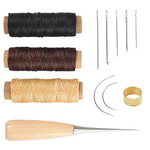Cizen Herramientas de Coser, 12Piezas Cuero Artesanía de Cuero Kit, Juego de Punzonado de Agujas Adecuado para Procesar y Reparar Productos de Cuero