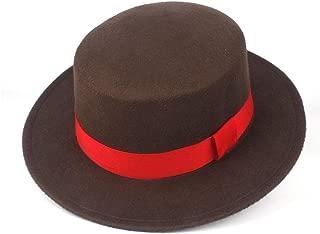 Lei Zhang Men Women Flat Top Fedora Hat With Red Ribbon Wool Trilby Jazz Hat Church Hat Size 56-58CM