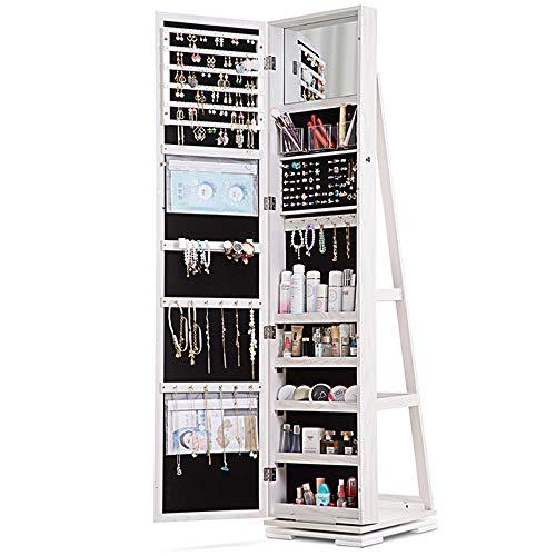 LVSOMT 360° drehbar Schmuckschrank mit Spiegel, abschließbarer Schmuckaufbewahrung, Spiegelschrank, große Schmuckaufbewahrung mit Schmuckregal, Ablagen, für Ketten, Ohrringe (Weiß)