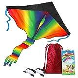 AGREATLIFE Cometa arco iris con bolsa de almacenamiento y asa extra plana para juegos y actividades al aire libre | Crea recuerdos con familia y amigos volando una cometa colorida