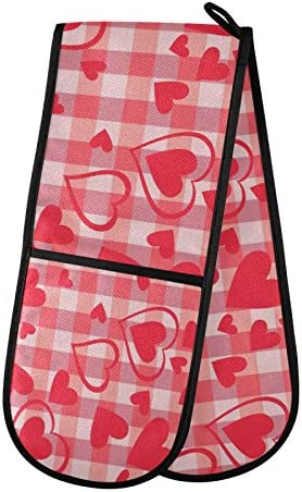 Red Hearts Valentines Day Plaid Double Oven Mitt 7 X 35 Inches Buffalo Tartan Pink Love Oven product image