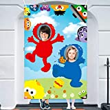 ANGOLIO Sesame Photo Booth Props Photography Backdrops, 5x3ft Sesame Photo Door Banner, Elmo Banner with Rope, Sesame Themed Party Decoration Supplies Party Favors for Kids