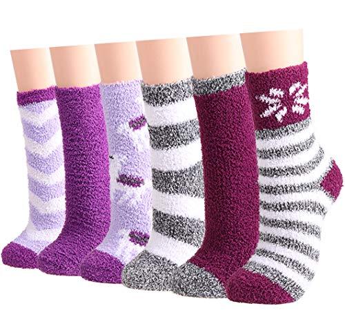 Warme flauschige Socken für Damen, Mädchen, 6 Paar, für den Winter, gemütlich, super weich