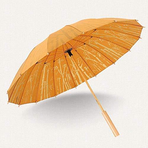 ECSWP Holz gerader Griff Regenschirm, einfache Freizeit Bambus sonnig und Regen Dual-Use-windundurchlässiger Regenschirm 16 Knochen (Color : Yellow)