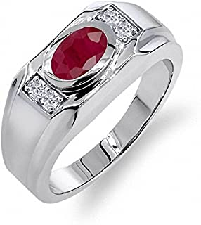 2.05 克拉 椭圆形 红色 红宝石 搭配 白色 人造蓝宝石 925银