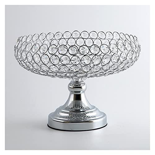 XIAOZHENT Candeleros Soporte de Vela de Cristal Plato de Almacenamiento Bandeja de Caramelo Candelabros Soporte para centros de Boda Decoración del hogar de Navidad (Color : Silver)