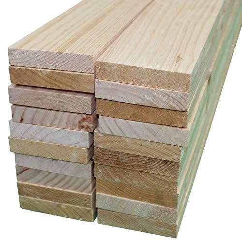 Listones de madera de pino, grosor de 1.8 cm y 9 de ancho. Tabla de madera de pino cepillado (Pack 20 listones, 50cm)