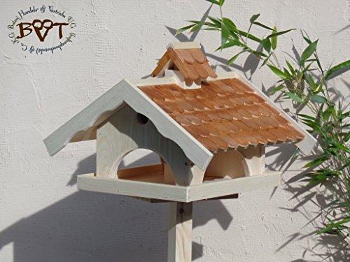 Vogelhaus,groß,mit Nistkasten,BEL-X-VONI5-dbraun002 Großes wetterfestes PREMIUM Vogelhaus VOGELFUTTERHAUS + Nistkasten 100% KOMBI MIT NISTHILFE für Vögel WETTERFEST, QUALITÄTS-SCHREINERARBEIT-aus 100% Vollholz, Holz Futterhaus für Vögel, MIT FUTTERSCHACHT Futtervorrat, Vogelfutter-Station Farbe braun dunkelbraun behandelt / lasiert schokobraun rustikal klassisch, MIT TIEFEM WETTERSCHUTZ-DACH für trockenes Futter
