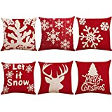 Paquete de 6 fundas de almohada con decoración navideña, fundas de almohada de lino de algodón, cojín de reno con copo de nieve para decoración del hogar, regalos navideños, 18'x 18'
