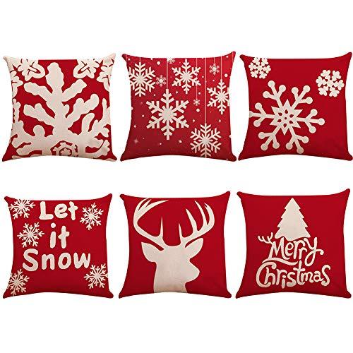 """Paquete de 6 fundas de almohada con decoración navideña, fundas de almohada de lino de algodón, cojín de reno con copo de nieve para decoración del hogar, regalos navideños, 18""""x 18"""""""
