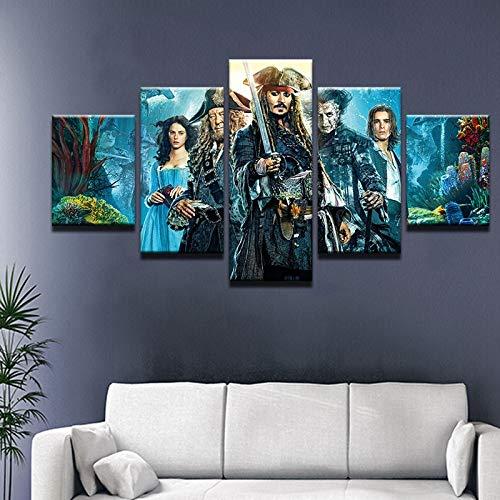 5 paneles de película Piratas del Caribe pintura de pared cuadro modular lienzo pinturas para sala de estar dormitorio póster para habitación de niños(size 2)