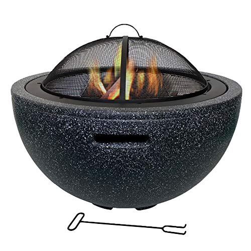 Outdoor Round Wood Burning Fire Pit Fire Bowl Garden Edition- Hearth Grill Fireplace 3-in-1 Garden Terrace Heater Brazier with Fashionable and Artistic Magnesium Oxide Base, Grill, Mesh Lid,Black