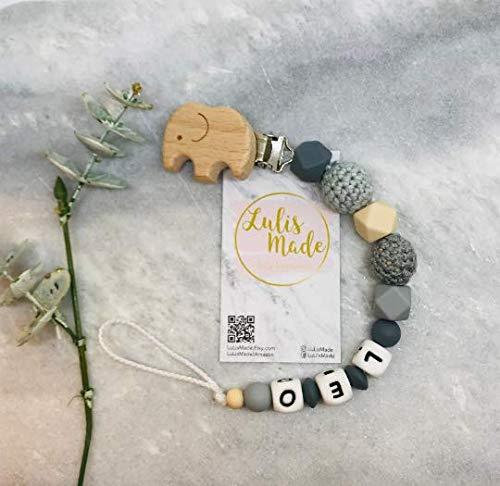 Schnullerkette mit Namen für Junge und Mädchen - personalisierte Baby Geschenke zur Geburt oder Taufe (F0106)