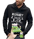 PIXEL EVOLUTION Sweat à Capuche 3D Rugby Toulon en Réalité Augmentée Homme - Taille XL - Noir