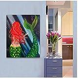 HSFFBHFBH Arte de la Pared Imagen en Lienzo Impresión Animal Marino Pintura Abstracta Sirena para el Dormitorio Habitación del bebé Sala de Estar Decoración del hogar 40x50cm (15.7'x19.7) Sin Marco