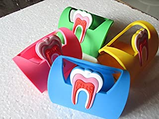 Aphrodite 4Pcs Dentistry Rubber Dental Teeth Tooth Name Card Holder Case Colourful(Red Yellow Blue Green)