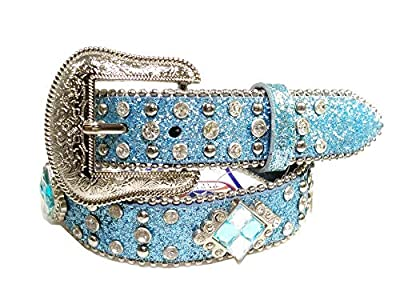 Western Cowboy Cowgirl Leather Shiny Belt for Kids (X-Large)