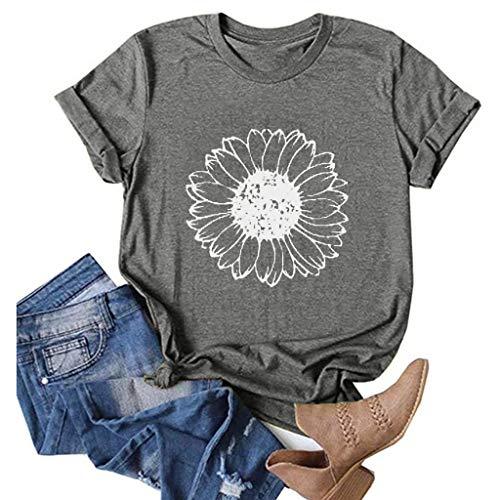 ZBYY Camisetas para mujer gráficas, estampado de girasol, manga corta, cuello redondo, casual, verano divertido - gris - X-Large