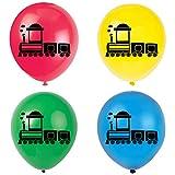 Train Latex Balloons, 12inch (16pcs) Railroad Train Birthday Party Decorations, Supplies