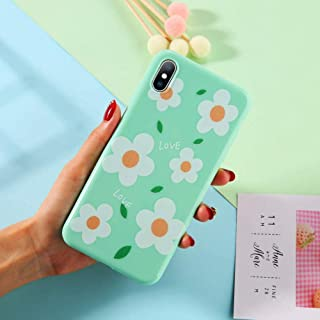 GUYISJK Cover Iphone,White Floral Minimalist Pattern For Iphone 6 6S 6Plus 7 7Plus 8 8Plus X Xs Xr Xs Maxsoft Tpu Silicone Back Cover,For Iphone 6 Plus/6S Plus