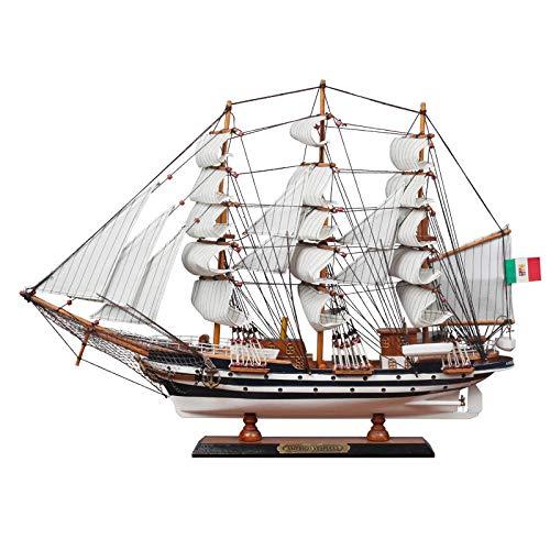 M & A 65 cm de madera náutica, maqueta de barcos en miniatura, velero, decoración para el hogar, oficina, interior, maqueta de barco para adultos y niños