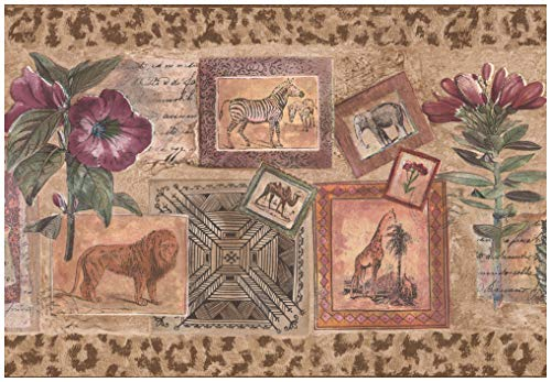 Prepasted Wallpaper Border - Postcards with Leopard Lion Elephant Zebra Purple Flowers Distressed Wall Border Retro Design, Roll 15 ft. x 10 in.