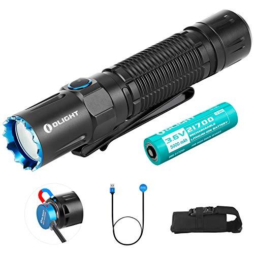 Olight M2R Pro Warrior Torcia Tattica 1800 lumen Bianco Neutro LED, Torce a LED Lampada Ricaricabile Potente Professionale Polizia Militare, con Batteria 21700 + scatola Batteria (Nero)