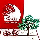 Pop Up Karte'Fahrrad Amsterdam' – lustige 3D Fahrradkarte als Geschenkidee, Geburtstagskarte & Souvenir – Dekoration, Gutschein, Deko und Reisegutschein für Holland & Amsterdam