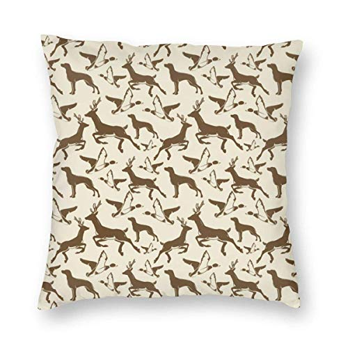Square Throw Pillow Covers Hunting Birds Deer Protectors Bench Home Invisible Zipper
