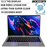 BOCCONI Ultra-Thin Laptop,12.5 inch IPS Display HD 2560x 1440, Intel Gemini Lake N4100 8GB RAM 256 GB SSD,Windows 10 Notebook Laptop, USB 3.0, HDMI, Type-C, with Fingerprint Keyboard Light