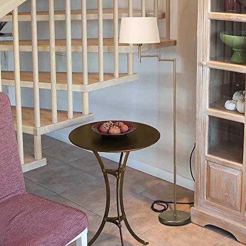 LHG Klassische Stehleuchte mit Stoffschirm Bronze, Stehlampe mit Zugschalter, Leselampe Leuchte inkl. warmweißen Leuchtmittel