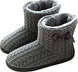 GILKUO Zapatillas de Estar por Casa Mujer Invierno Botas Pantuflas Botines Calentitas Zapatillas Casa Cerradas Gris Talla 37 38