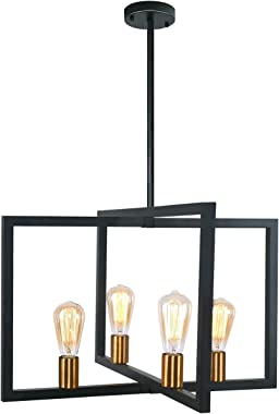 reesenLight Modern Kitchen Island Light, 4 Lights Metal Frame Industrial Pendant Light Fixtures, Matte Black Farmhouse Ceilin