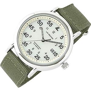 [ラドウェザー] 腕時計 メンズ 電池不要のソーラー搭載 ミリタリーウォッチ メンズ レディース 時計 (05.ベージュ×カーキ)
