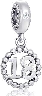 Number Bracelet Charms - 925 Sterling Silver Pendants/Beads Fit Pandora Charm Bracelets, Necklace, European Snake Chain,1...