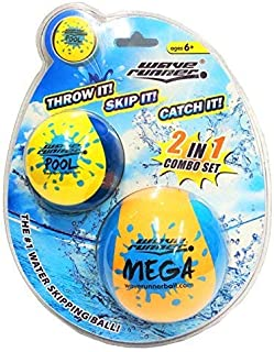Wave Runner Skipping Speed Duo Set Water Skipping Bouncing Balls Mega Ball & Pool Ball- Two Water Balls for Price of One (Single)