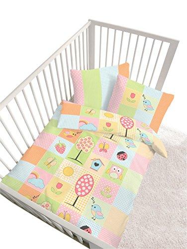 IDO Parure de lit en renforcé 40 x 60 / 100 x 135 cm, jaune/rose - Patchwork