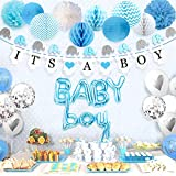 Sweet Baby Co. Boy Baby Shower Decorations for Boy with Elephant Garland, Its A Boy Banner, Baby Boy Balloons, Silver Confetti Balloon, Honeycomb Balls, Lanterns, Pom Poms (Baby Blue, True Blue, Grey and White for Sprinkle)