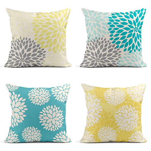 Tarolo Decorative Linen Throw Pillow Covers Cases Set of 4 Yellow and Gray Pastel Blue and Gray Trendy White Floral Teal Turquoise Aqua Blue Lemon Yellow Floral Dahlia Pillow Cover Case 18x18 inches