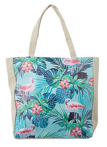 heimtexland  Beach Bag XL Borsa da Spiaggia in Tela, Tropcial Summer, Flamingo Typ609, Tessuto, Flamingo Türkis, 38x45x20