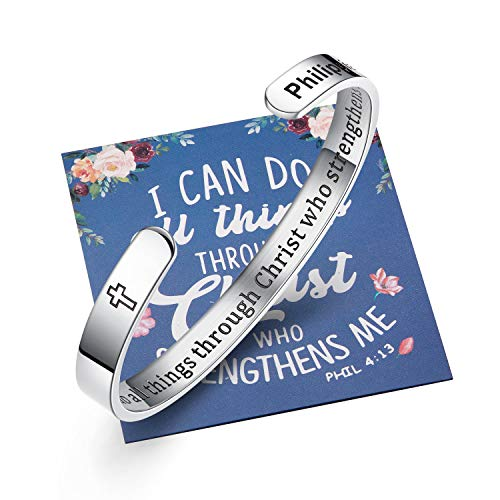 Ldurian Christian Graduation Gifts for Her, 2021 Grad Bracelet Him,College Senior Bangle Cuff, Inspirational Gift for High School Grad, Engraved I can do all thing (Class of 2021 Cap Box & Bag & Card)