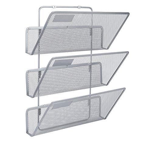 EasyPAG - Archivador de pared con 3 niveles, tamaño A4, de malla, para colgar, organizador de documentos, revistas, color plata