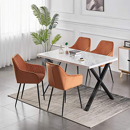 AINPECCA Set of 6 Dining Chairs Orange Velvet Armchairs with Armrest & Backrest Upholstered seat with Black Metal legs
