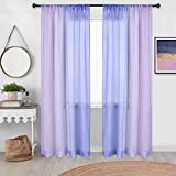 Pink and Blue Curtains for Girls Bedroom Decor Set of 2 Panels Rod Pocket Sheer Window Voile Ombre Rainbow Colorful Teen Curtains for Girls Room Decorations Kids Playroom 52 x 72 Inch Length