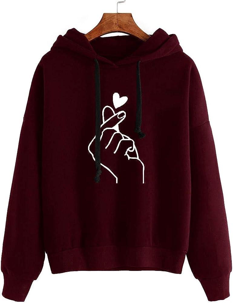 Sweatshirts for Women Long Sleeve Hoodie Sweatshirt Jumper Hooded Casual Loose Pullover Tops