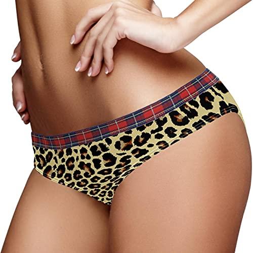 Leopard Pattern Illustration Bragas S Hipster Bragas Señoras Ropa Interior Bikini Panty Stretch, multicolor, S